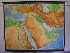 Schulwandkarte map Naher Osten Arabien Syrien Irak Iran Türkei  227x181cm 1972
