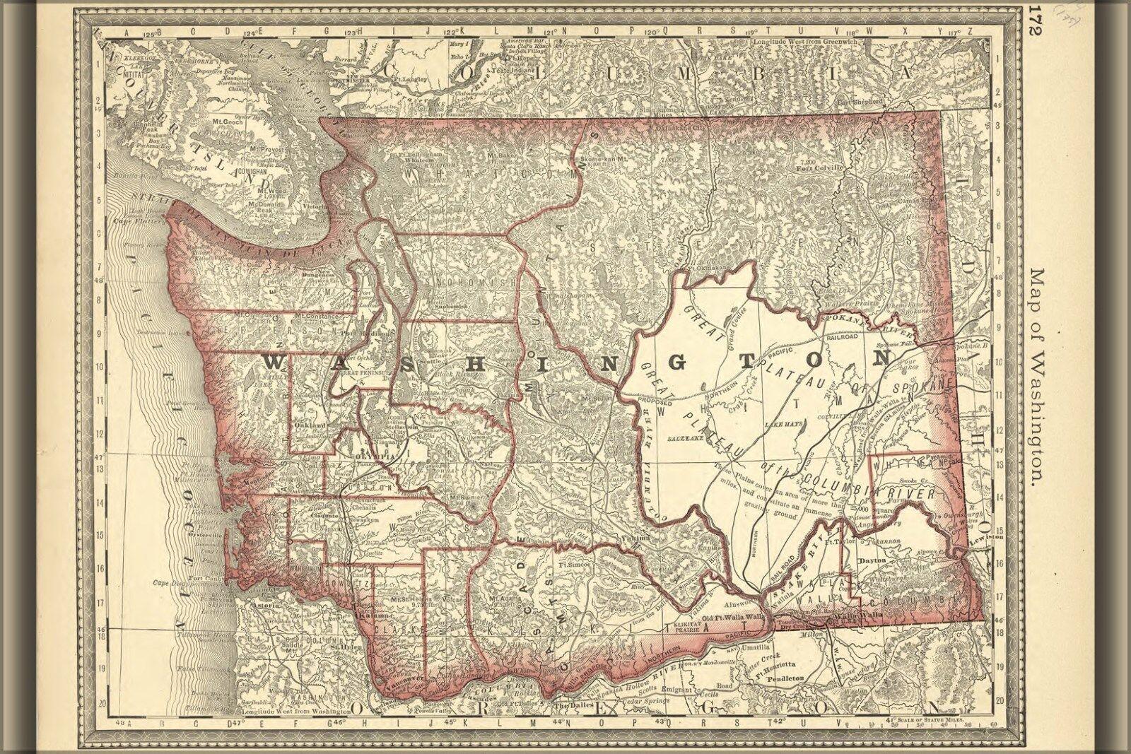 Poster, Molte Misure; Mappa Del Washington Stato
