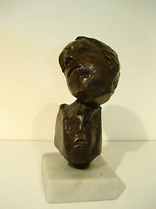 "MAF Lost Wax Cast Bronze ""Two Heads""  Unique Decorative Sculpture Original"