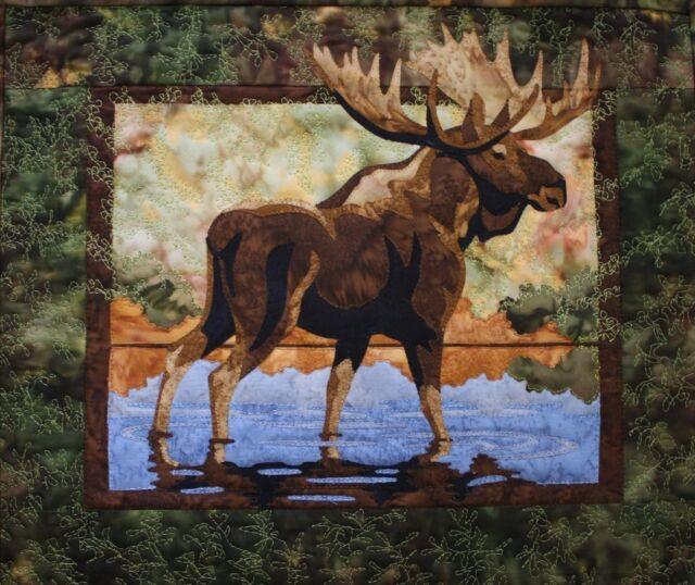 Hidden Lake Moose Toni Whitney Animal Fusible Applique Quilt Pattern + Fabric