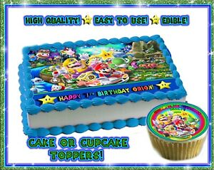 Super Mario Party 9 Birthday Cake Topper Edible Picture Sugar Paper Cupcakes Ebay