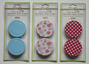 Set Of 2 Decorative Mason Jar Lids Blue Polkadot Red Plaid Baby