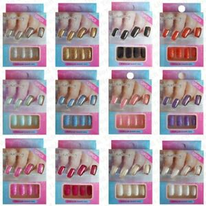 False-Fake-Nails-Full-Nail-tips-Glitter-French-artificial-nails-art-With-Glue