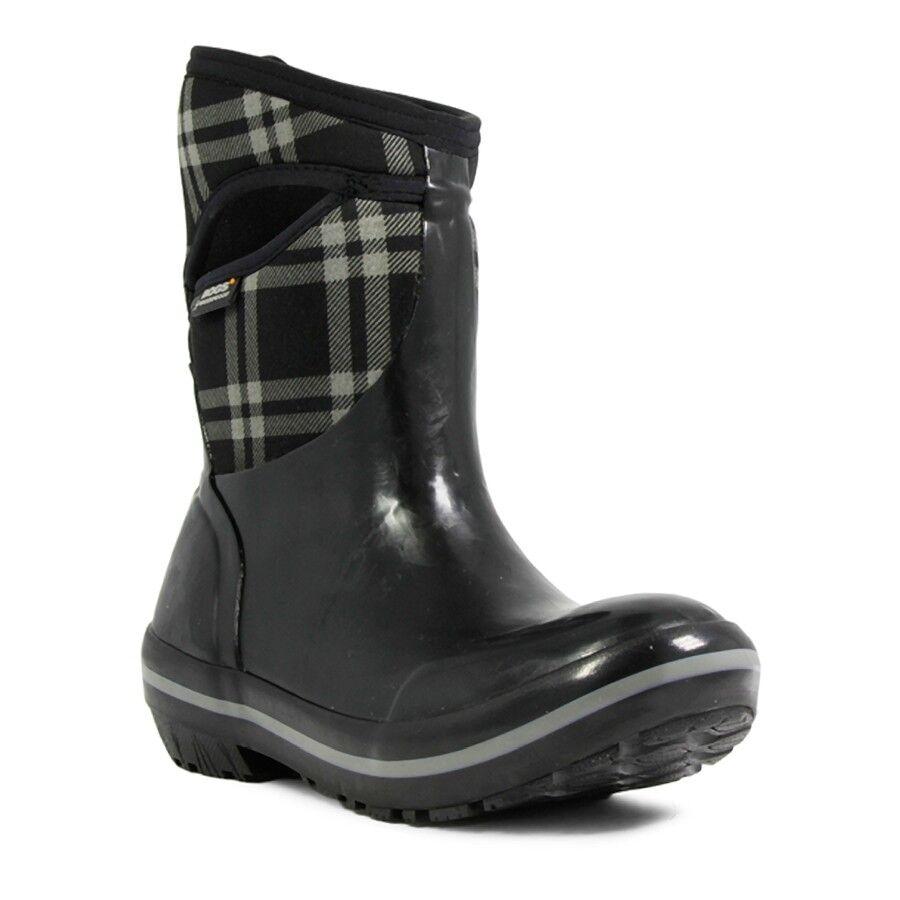 Bogs para mujer mujer mujer botas impermeables de flotación a cuadros Medio Negro 71786-001  online barato