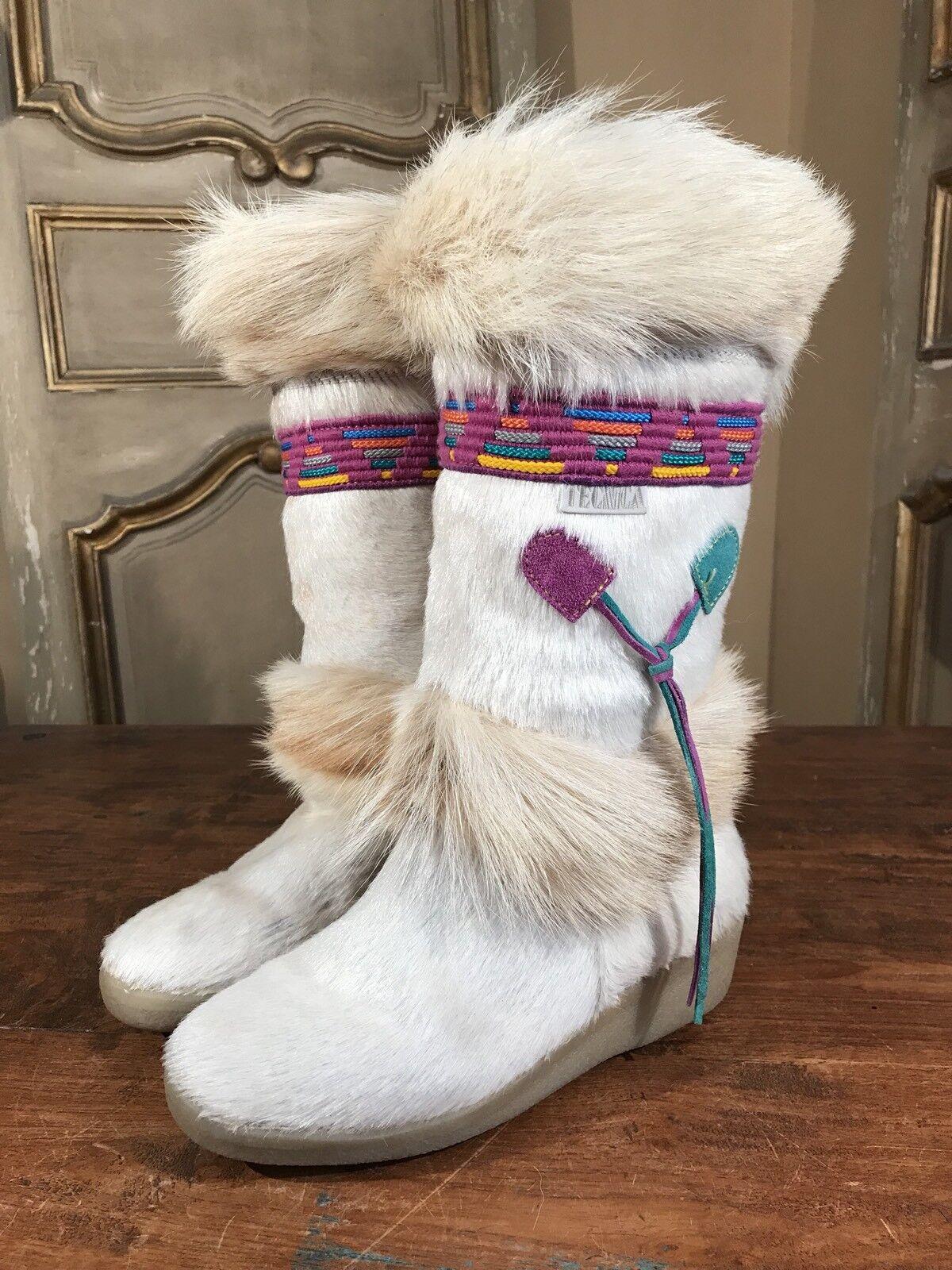 Tecnica Skandia Navajo Apres Ski Winter Boots Goat Fur  Women's US 6