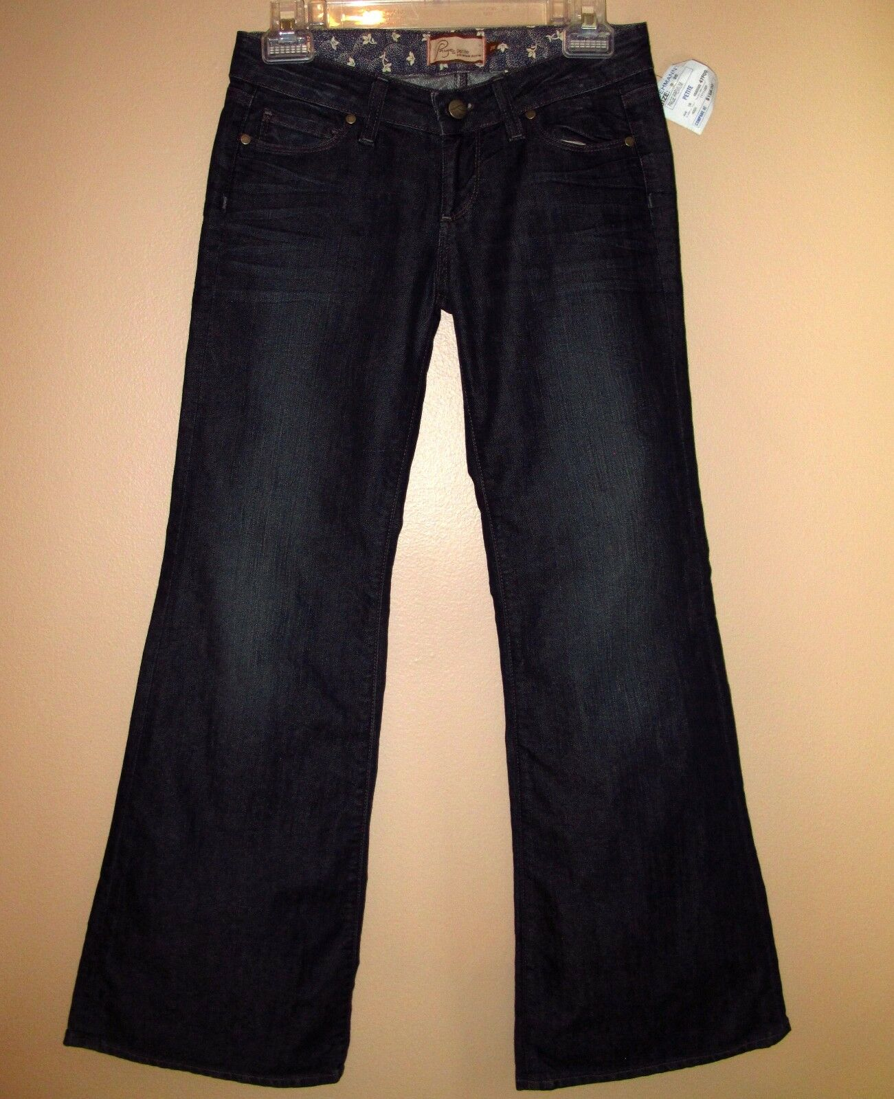 Paige Bundy Wide Leg Relaxed Flare Low Rise Dark Womens Jeans 27 Petite  New