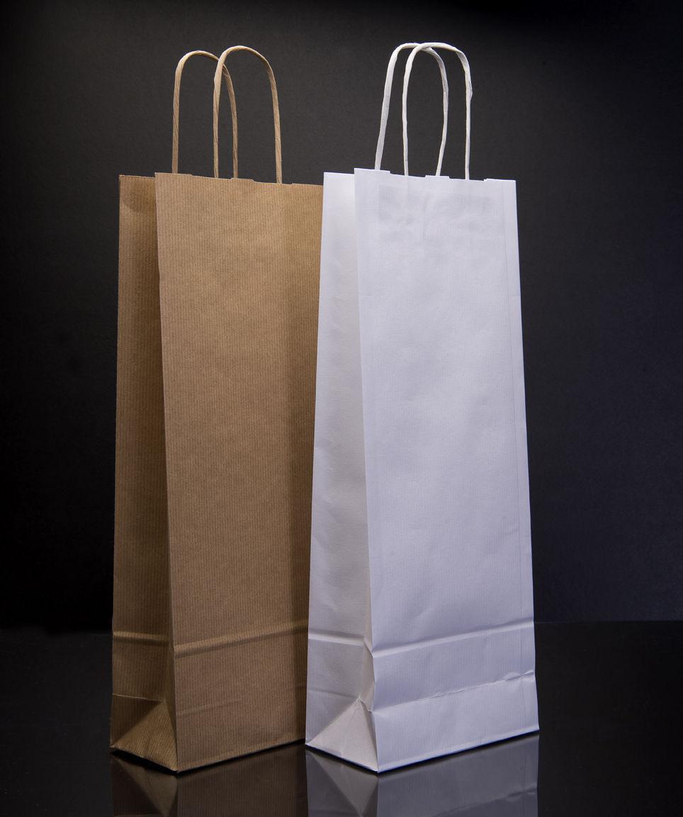 Wine Bottle Bag Luxury Kraft PaperTwisted Handle Carrier Gift Bag One Bottle Bag