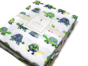 Pottery-Barn-Kids-Organic-Cotton-Turtles-Turtle-Shell-Full-Sheet-Set-New