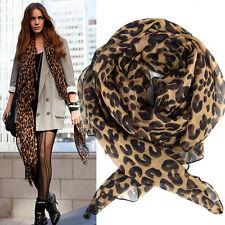Elegante Moda Leopardo Chal Gasa Sedoso Caliernte Largo Bufandas Pañuelo Mujer