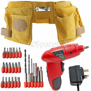 Double Leather Tool Nails Belt Pouch Cordless Re-chargeable Drill + Screwdriver