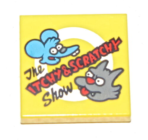 LEGO NEW YELLOW 2 X 2 TILE THE ITCHY AND SCRATCHY SHOW FLAT SMOOTH PIECE