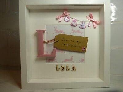 Personalised New Baby Photo Frame Christening Gift Keepsake Birth WO