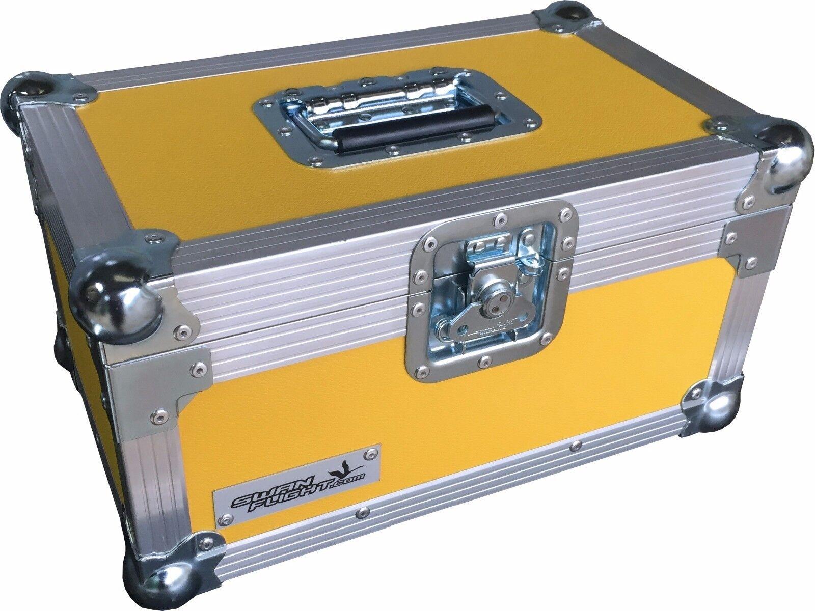 7  Single 200 Swan Flight Case Vinyl Record Box (Yellow Rigid PVC)