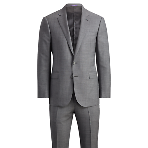 Ralph-Lauren-Purple-Label-Mens-Anthony-Grey-Sharkskin-Modern-Wool-Slim-Suit-38L