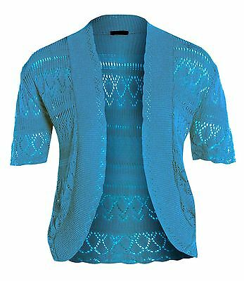 New Womens Plus Size Crochet Knit Cardigans Fishnet Bolero Tops 12-22
