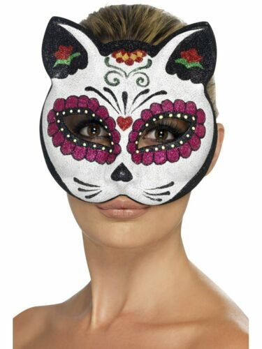 A775 Sugar Skull Cat Glitter Mexican Day Of The Dead Eye Mask Costume Accessory