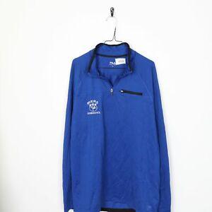VINTAGE-FILA-piccolo-logo-zip-1-4-Poliestere-Felpa-Maglione-Blu-XL