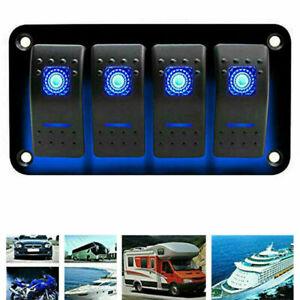 4-Gang-Blau-LED-Schaltpanel-Wippschalter-Schalttafel-Leistungsschalter-Boot-RV