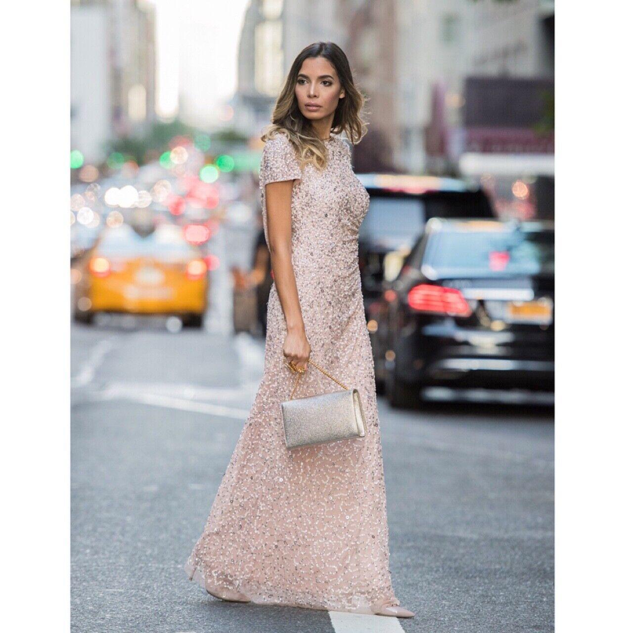Adrianna Papell Beaded Cowl-Back Gown sz 14 Bridesmaid Gala Blush Short Sleeve