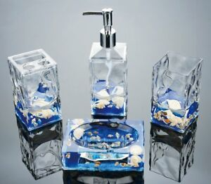 Image is loading 4Pc-Bathroom-Accessories-Set-Natoral-Beach-Shells-Decor-