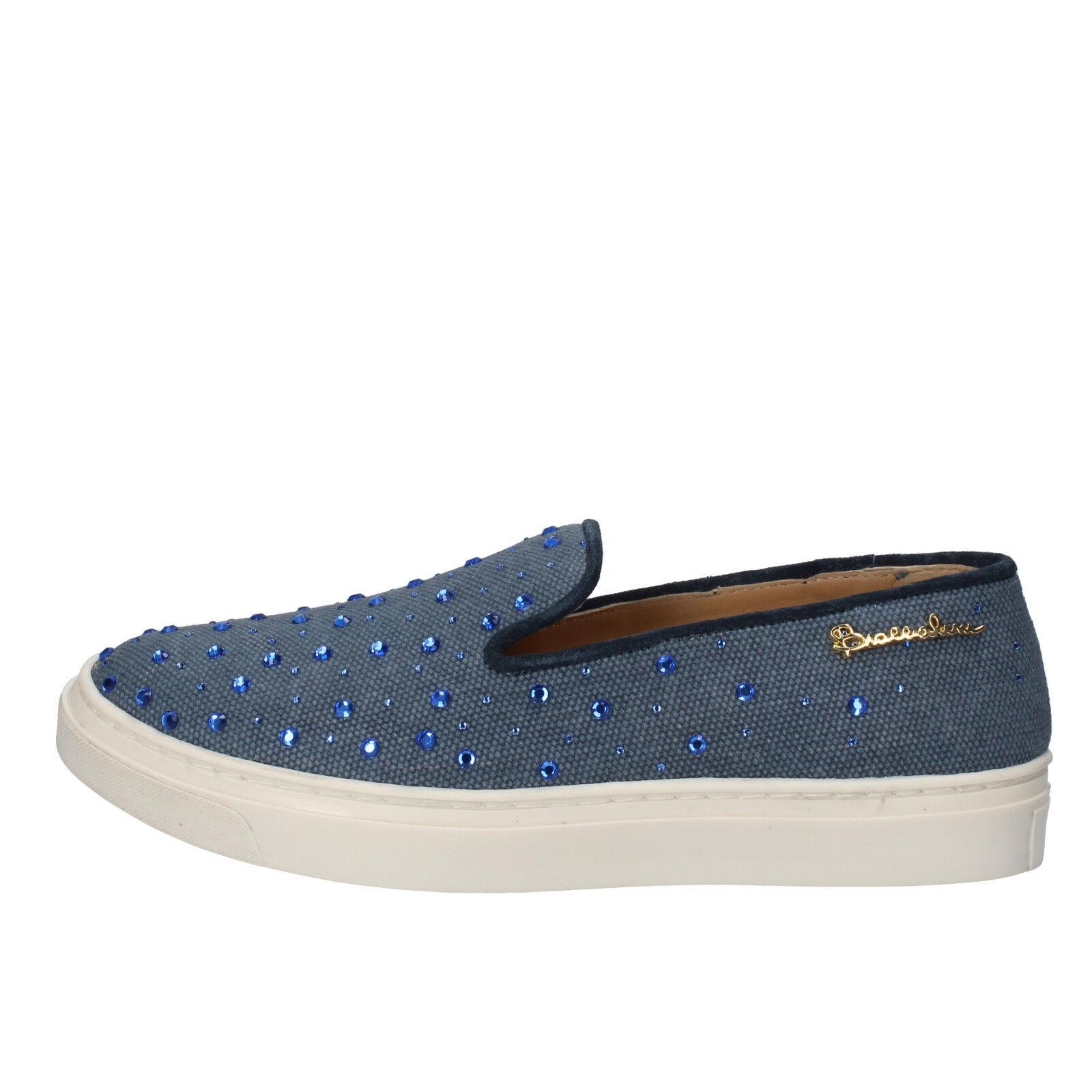 donna scarpe BRACIALINI 4 (UE 37) pani tessili azzurri senza strass AE540 -B