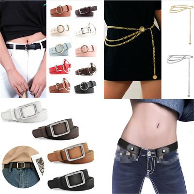 Boho Women Lady Vintage Metal Leather Round Buckle Waist Belt Waistband OQPRU OD