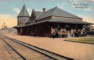 D37-Railroad-Depot-Station-Postcard-1915-Galesburg-Illinois-Santa-Fe-Depot
