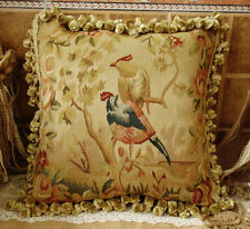 "18"" Vintage Antique Reproduction Heirloom Treasure Birds Aubusson Pillow #A"