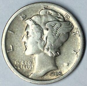1928 Mercury Dime 90/% Silver Fine FN