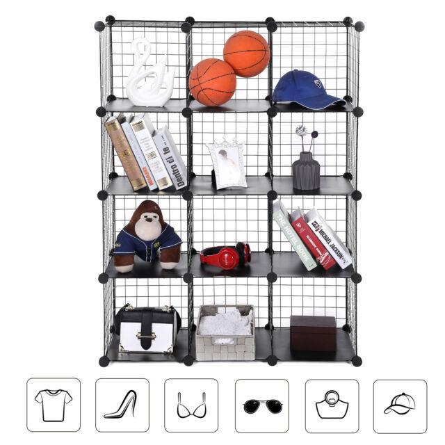 cdc2e5609cb1 SONGMICS 12 Cube Interlocking Storage Rack With Metal Wire Mesh Shelves