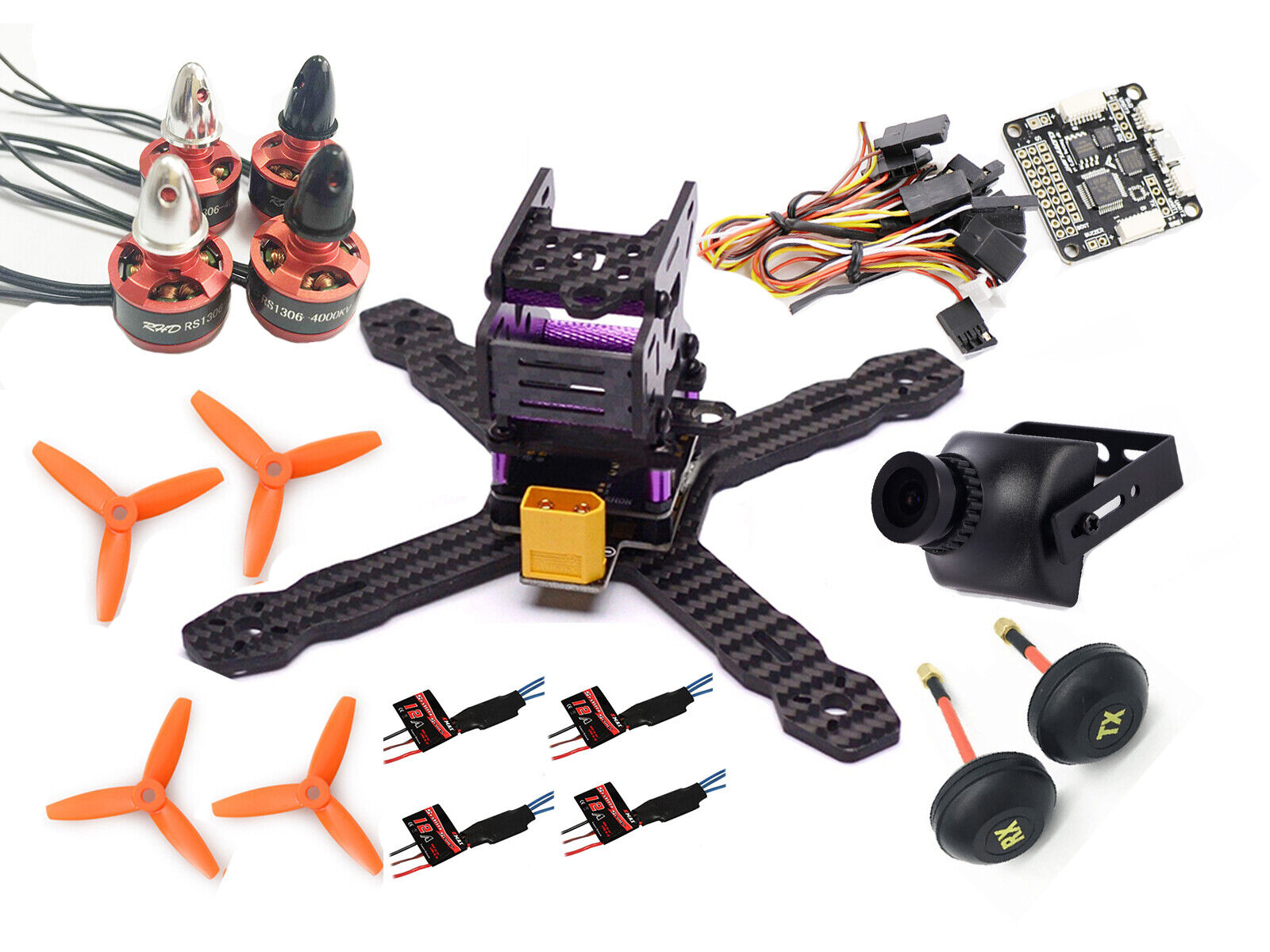 Carbon Fiber RX150MM Quadcopter F3 Flight Controller Acro EMAX 12A 3035 prop D