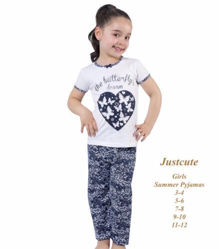 GIRL/'S Kids Pigiama Farfalla Manica Corta 93/% COTONE ESTATE Pjs 3 a 12 anni