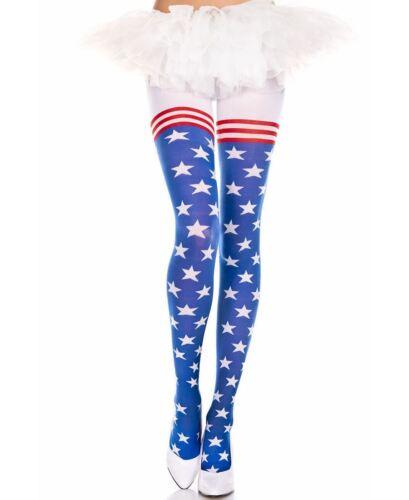 Flag Print Spandex Pantyhose Music Legs 7068
