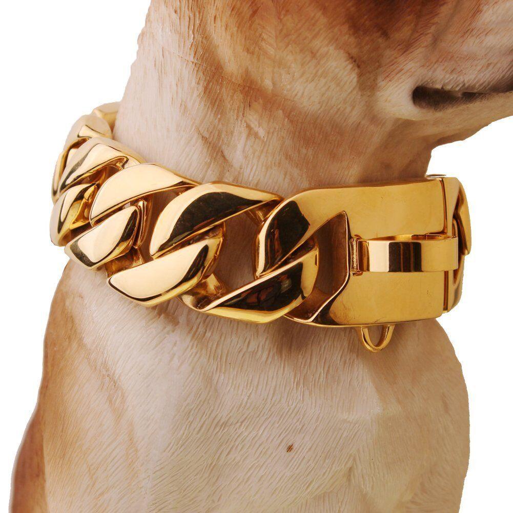 30mm oro argentoo Acciaio Inox Cordolo Bulldog BIG Huge cani catena girocollo collare