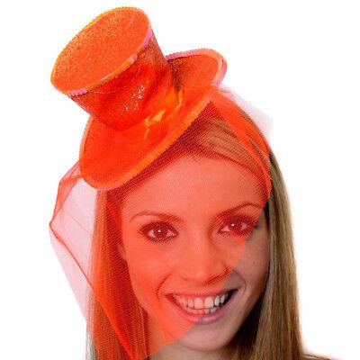 BLACK MINI TOP HAT WITH NET GLITTER FASCINATOR FANCY DRESS ACCESSORY CHRISTMAS
