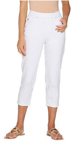 Belle by Kim Gravel Jeans Denim Stretch Twill Cropped Pants White Plus Sz 24