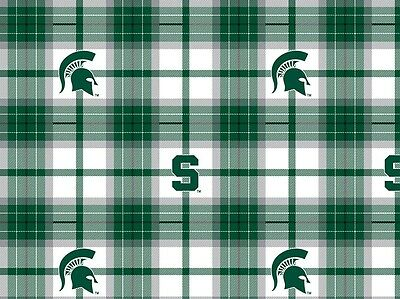"Sykel 32/"" Long Michigan State University Spartans Cotton Quilt Fabric N1892"