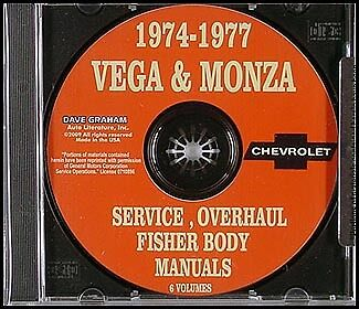 Chevy Vega and Monza CD Repair Shop Manual 1974 1975 1976 1977 Chevrolet Service