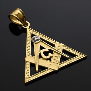 Gold triangle freemason diamond masonic pendant ebay image is loading gold triangle freemason diamond masonic pendant aloadofball Image collections