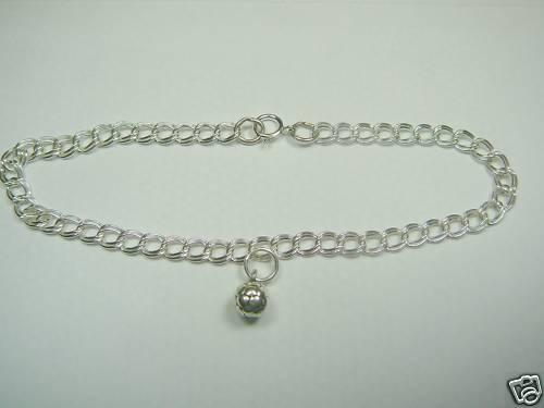 """Sterling Silver Soccer Bracelet 7/"""" Length"""