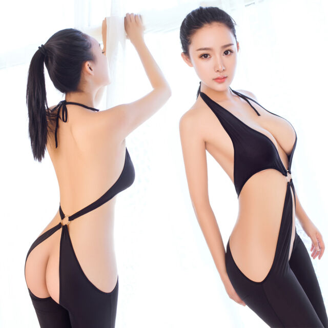 Sexy Lingerie Women Black Fetish Bodysuit Open Crotch Jumpsuit Bra Tops Halter