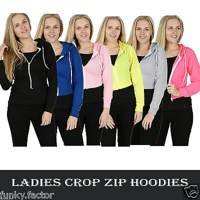 New Womens Girls Ladies Plain Cropped Hoodie Gym Sweatshirt Crop T-shirt Top Zip