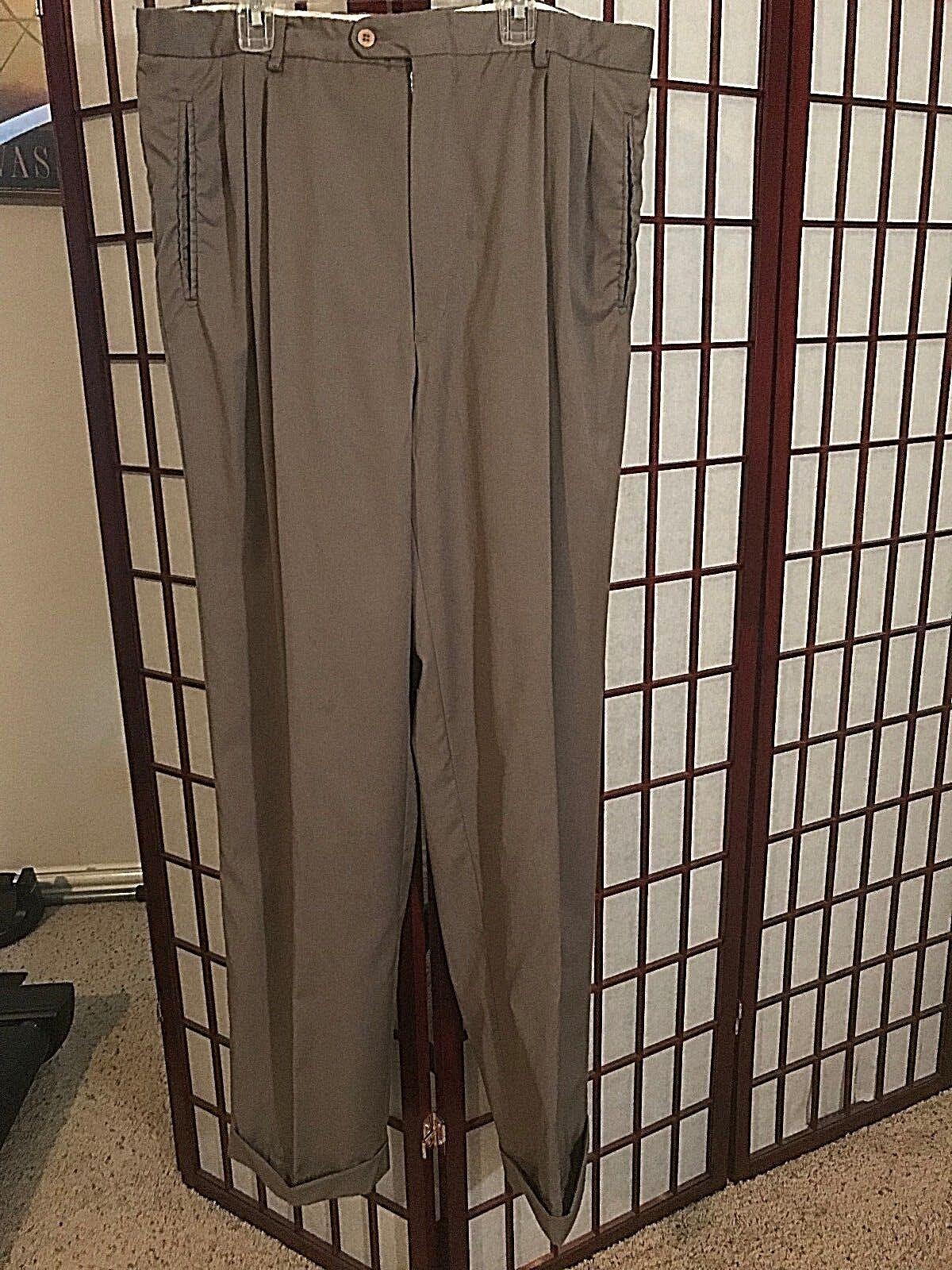 ERMENEGILDO ZEGNA brown Fine Worsted Super 100's Wool Dress Pants Sz 34 x 34