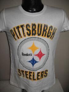02e3f54a7 Image is loading NFL-Pittsburgh-Steelers-Football-White-Logo-tee-Shirt-