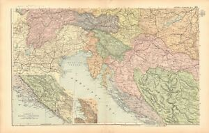 1893-ANTIQUE-MAP-AUSTRIA-HUNGARY-SOUTH-WEST-TRIESTE-DALMATIA-BOSNIA
