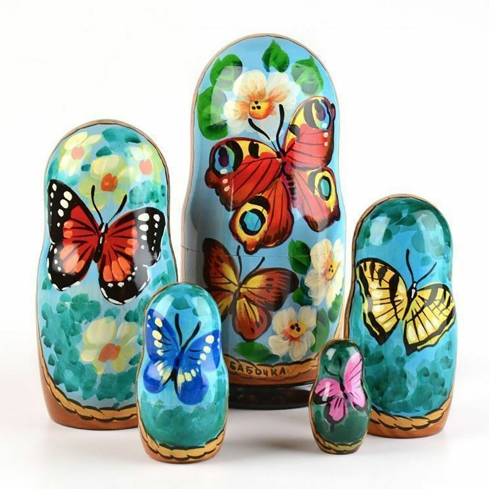 Nesting dolls Butterflies. Signed Hand-painted matryoshka 7 /18cm modern wood