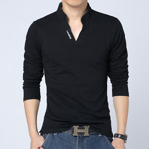 8a8cfe49d60 Men s V-neck Casual T-shirts Long Sleeve Slim Fit Tees Shirts Pure ...