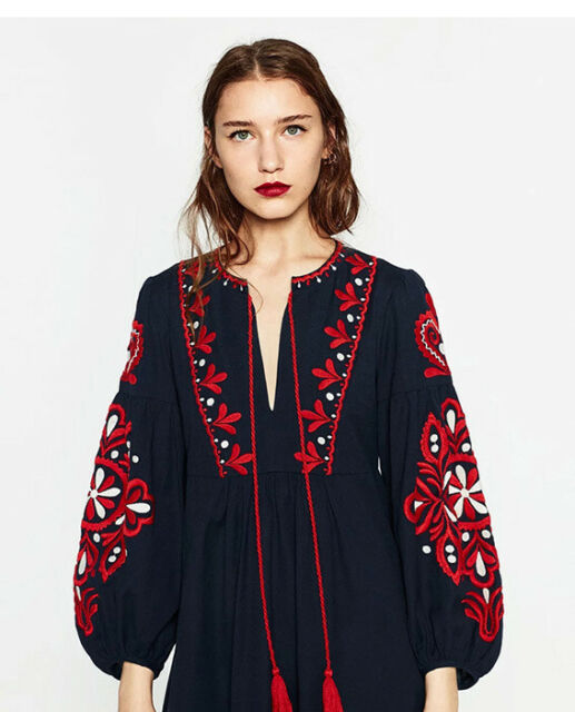 fd1853a5dd4 Vintage 70s Hippie Mexican Floral Embroidered Boho Balloon Sleeve Maxi Dress  S-l for sale online