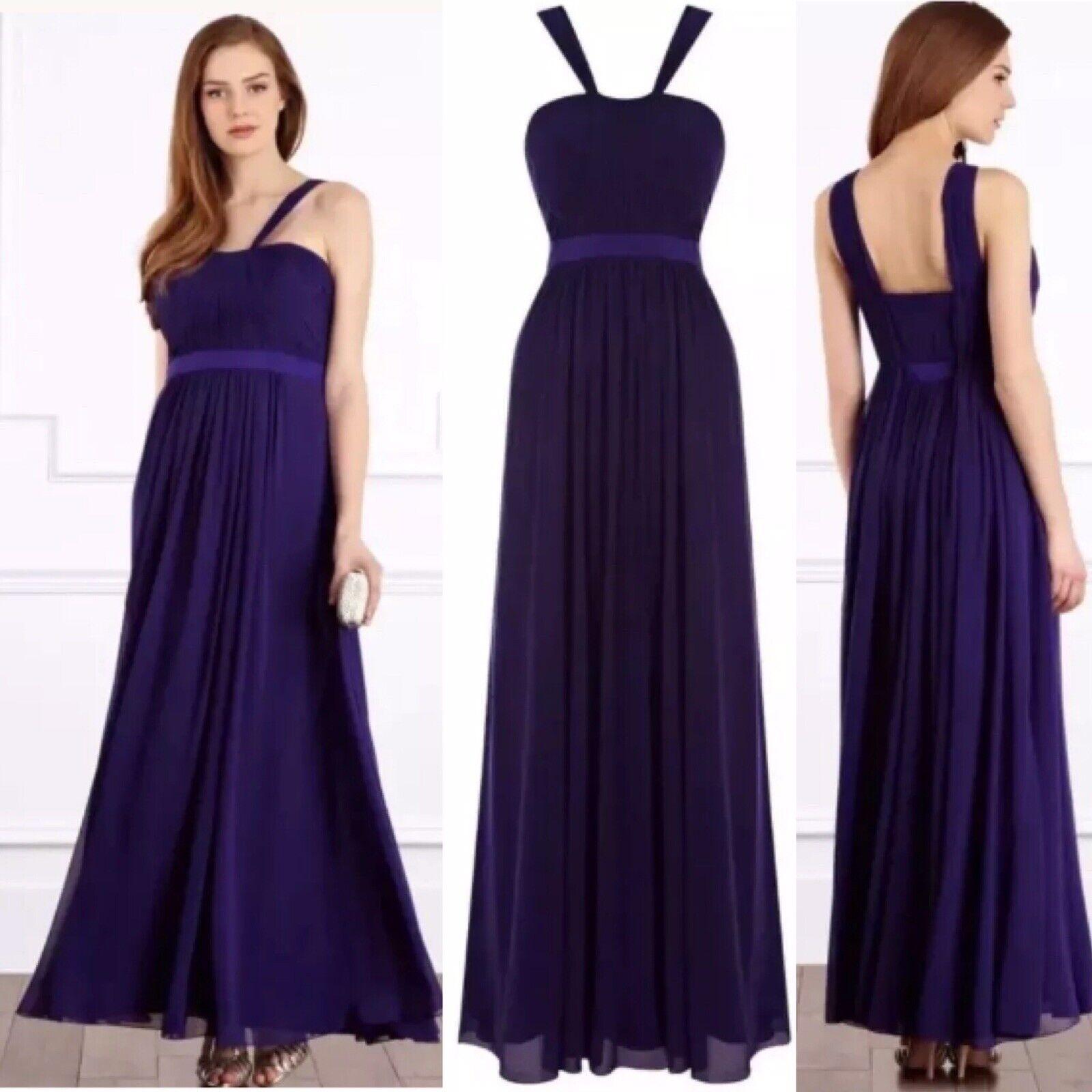 Coast Icona Maxi lila Prom Ballgown Bridesmaid Grecian Long Dress 16 RRP