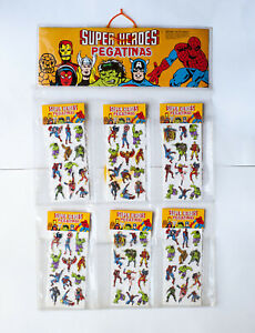 1981 DC Marvel Superheroes spanish puffy stickers display stand vintage toy